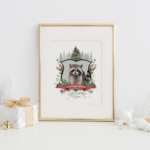 Raccoon Around the Christmas Tree Art Print