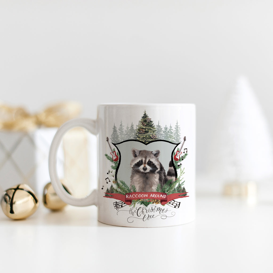 Raccoon Around the Christmas Tree Mug