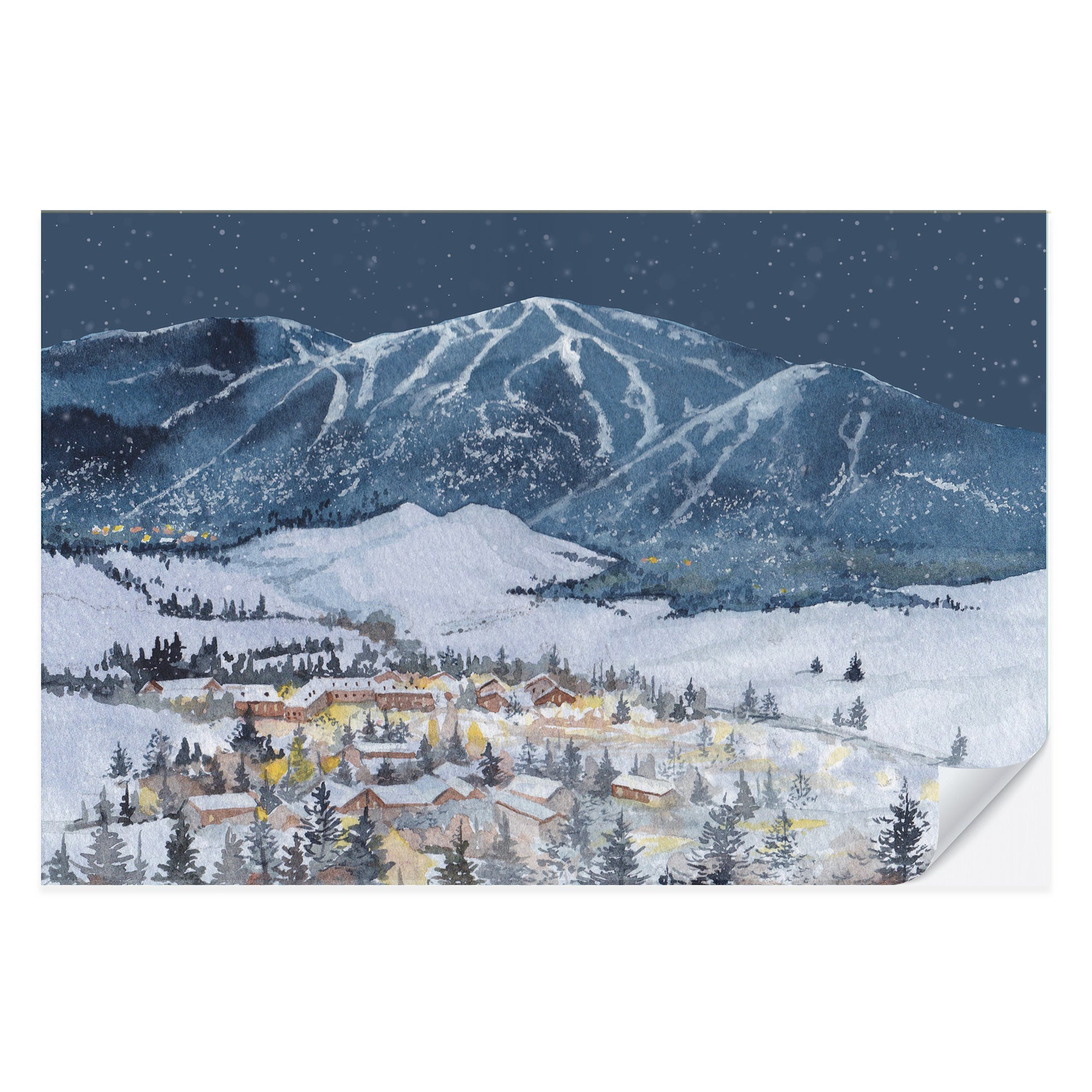 Ski Resort Winter Holiday Placemat Pad