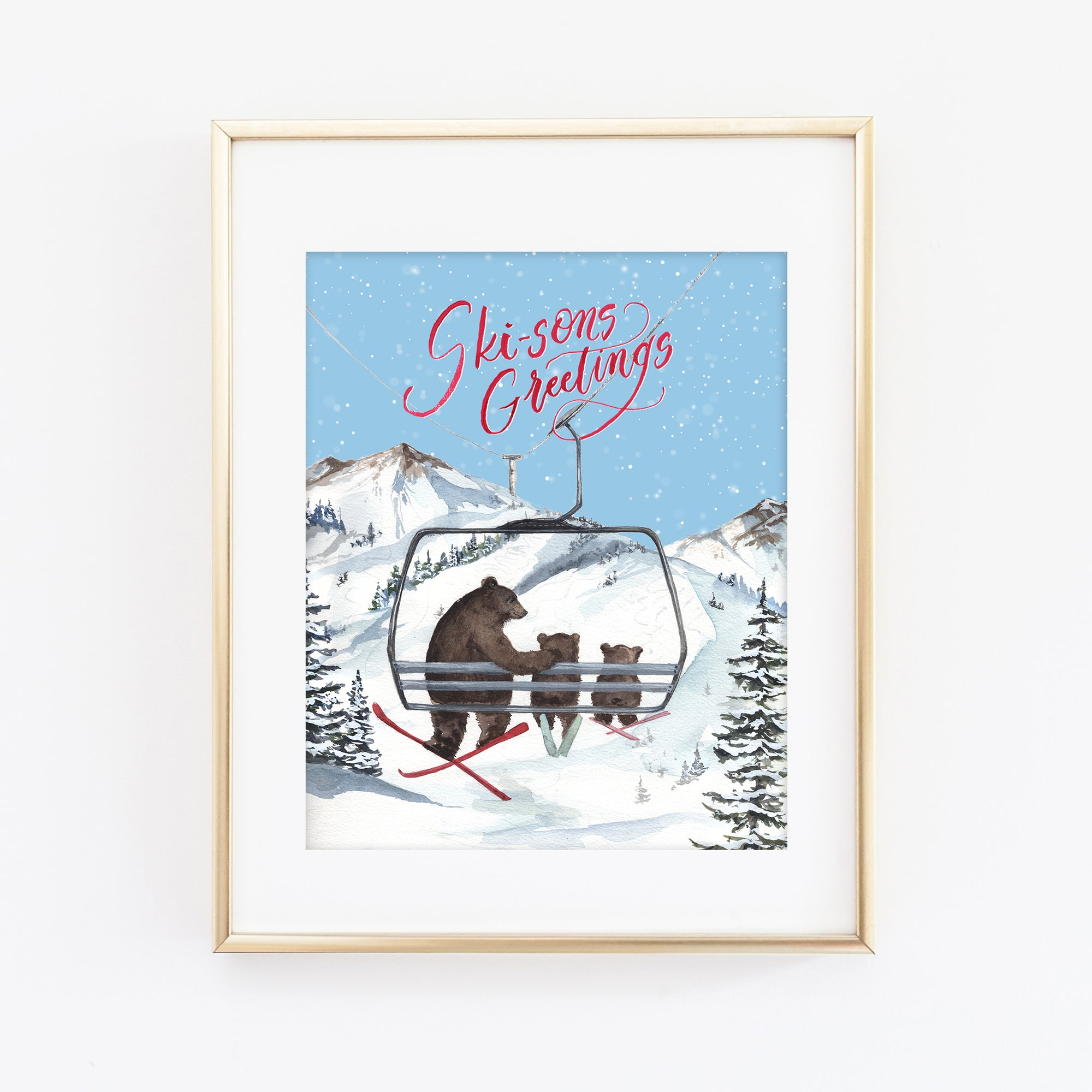 Ski-sons Greetings Art Print