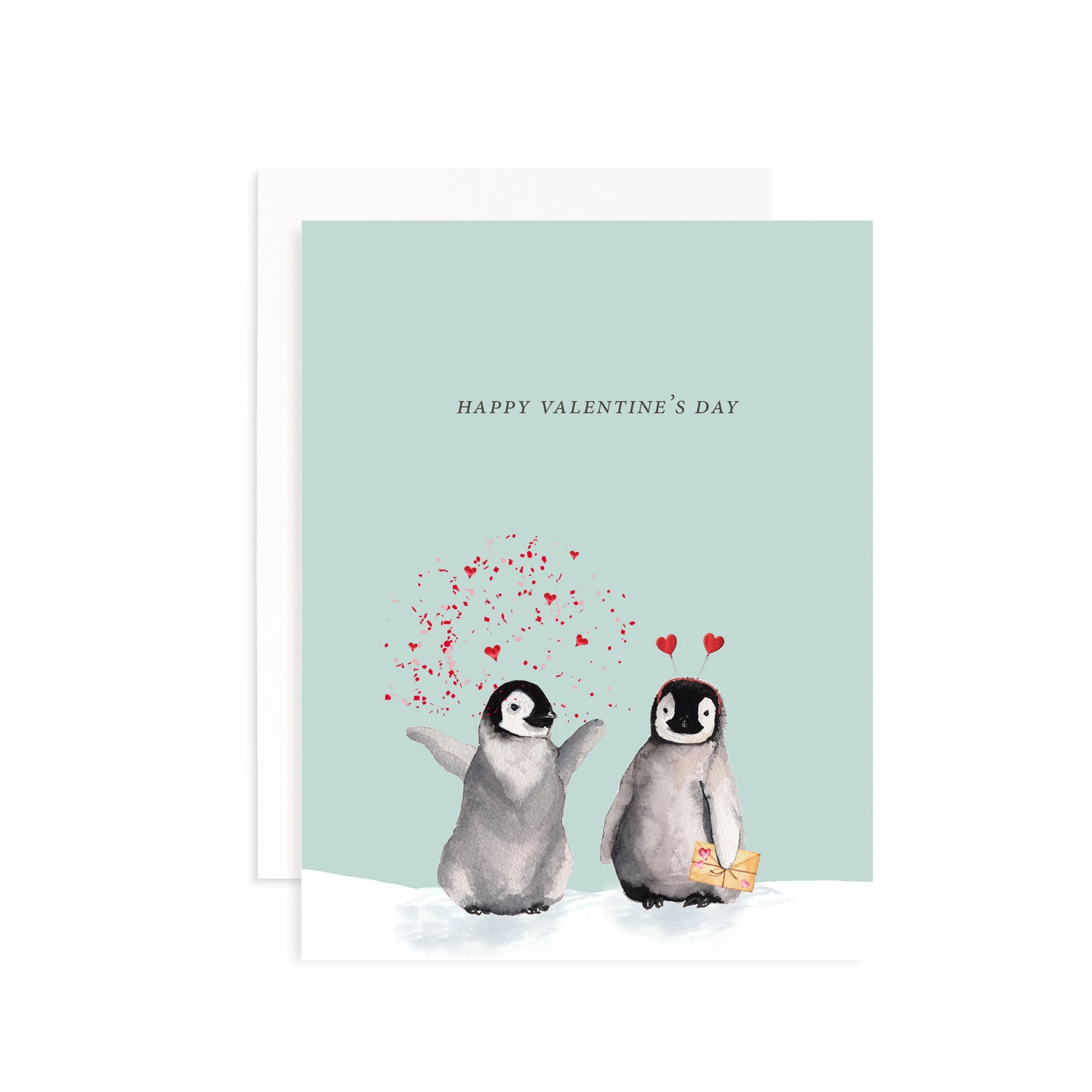 Valentine's Day Penguins Greeting Card