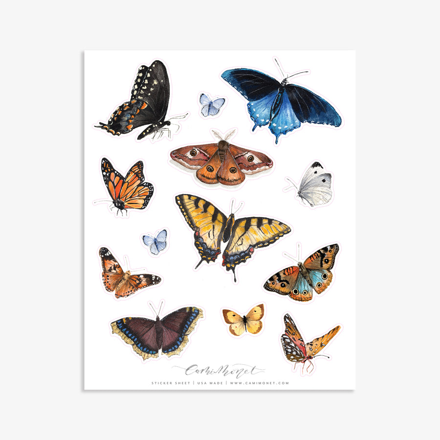 Watercolor Butterflies Sticker Sheet