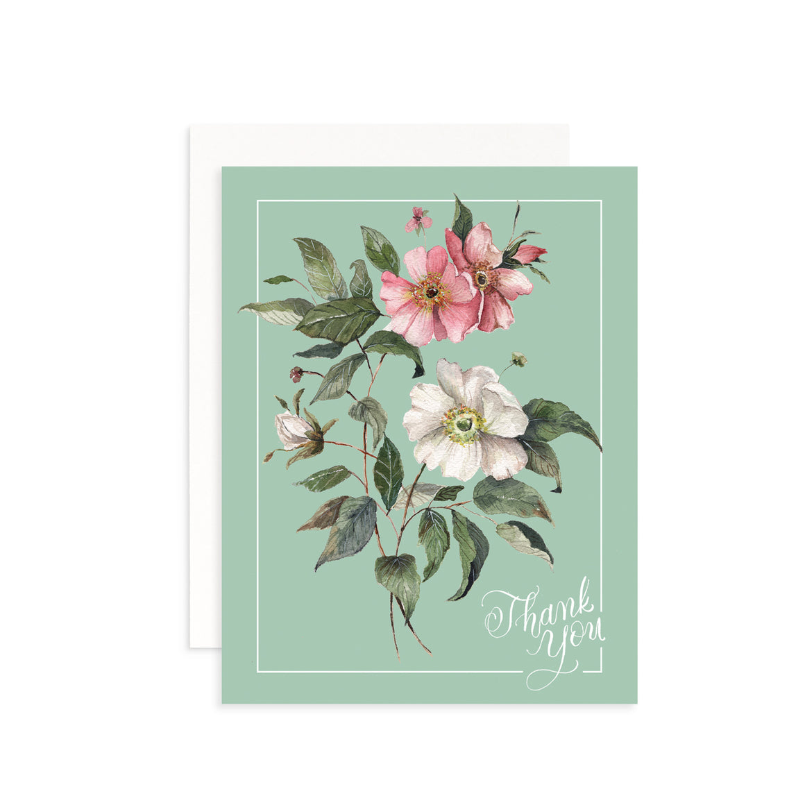 Vintage Rose Thank You Greeting Card