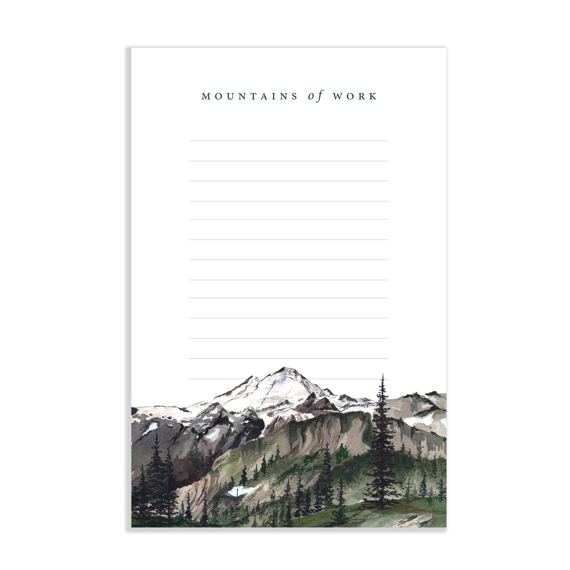 Mountains of Work Watercolor Notepad