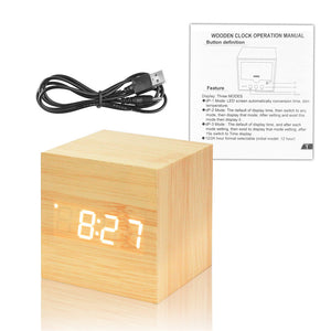 Wood Cube Alarm Clock (USB)