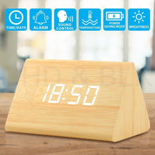 Load image into Gallery viewer, Wooden Digital Alarm Clock
