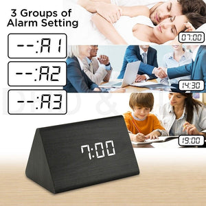 Wooden Alarm Clock with Thermometer (USB Cable) - Suppliesbnb