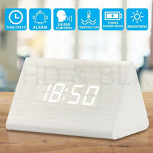 Load image into Gallery viewer, Wooden Alarm Clock with Thermometer (USB Cable) - Suppliesbnb