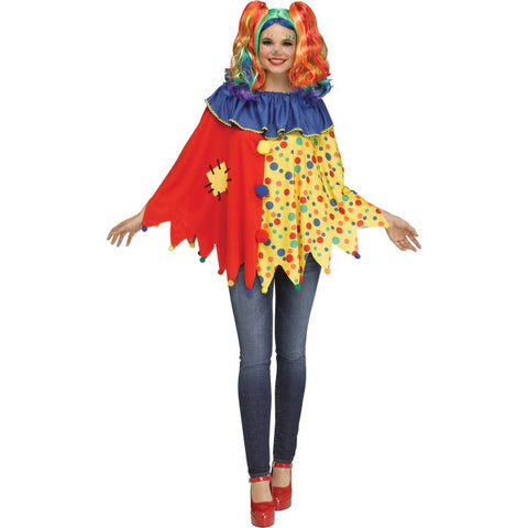 Colourful Clown Women's Poncho Costume