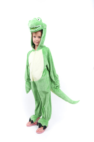 Girls Green Dino Costume