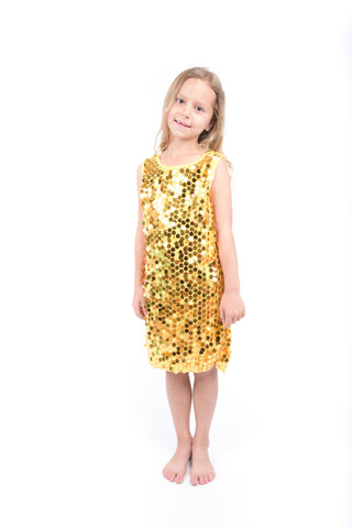 Girls Yellow Sequin Dress