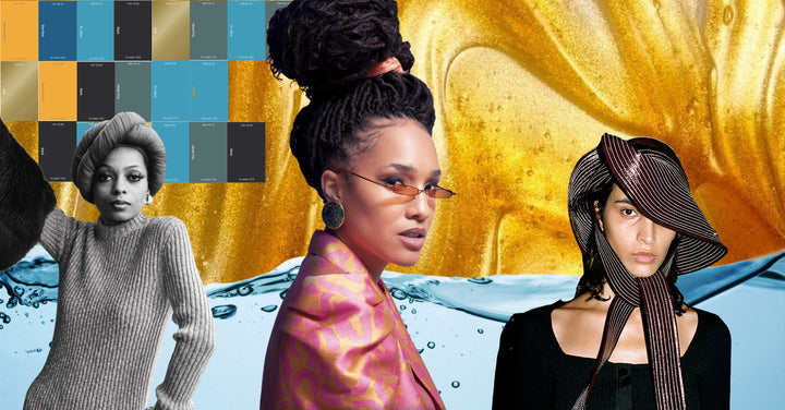 Dj Karaba wearing sunglasses, with Diana Ross in black and white, and a model wearing a Ganni pvc hat creation, on a slimy gold background, with a water wave and some a color palette in blue and gold.