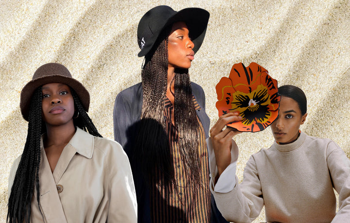 A photo montage of a curly hair model wearing a brown straw cropped hat, the davis hat, one wearing a black wool cropped hat, the classic cropped hat, and a girl with a flower. @croppedhat @yourgirlfatou @loewe