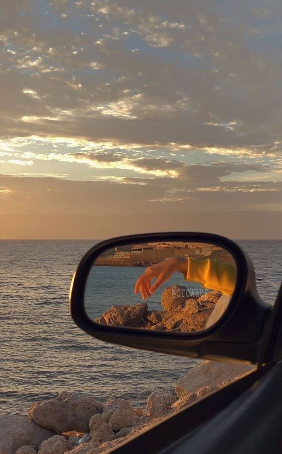 sunset, car rides, mirror, sea
