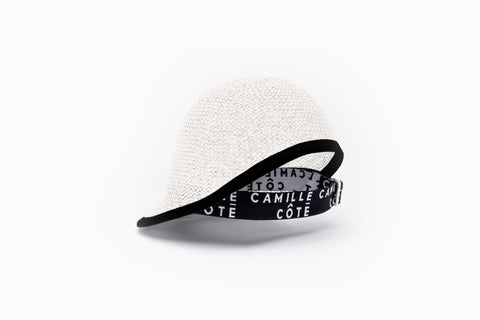 Camille Côté Claire white straw riding cap, ideal for natural hair.