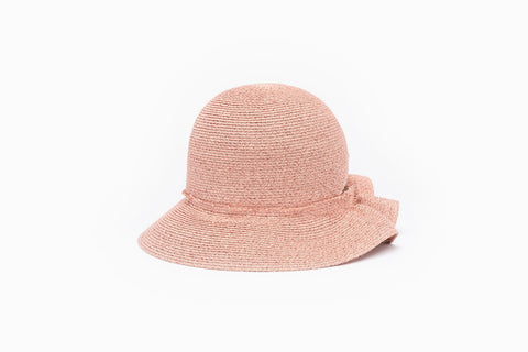 Camille Côté Liberty summer pink straw bucket hat, fits all hair.