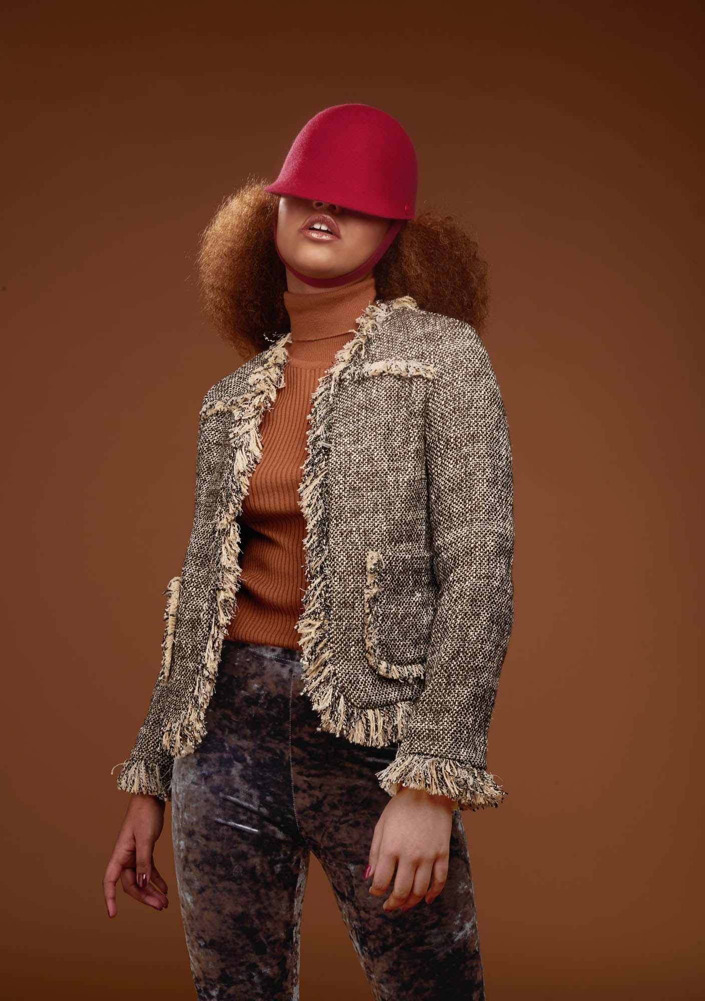 The riding cap Chief matches the fashion outfit in this fashion editorial