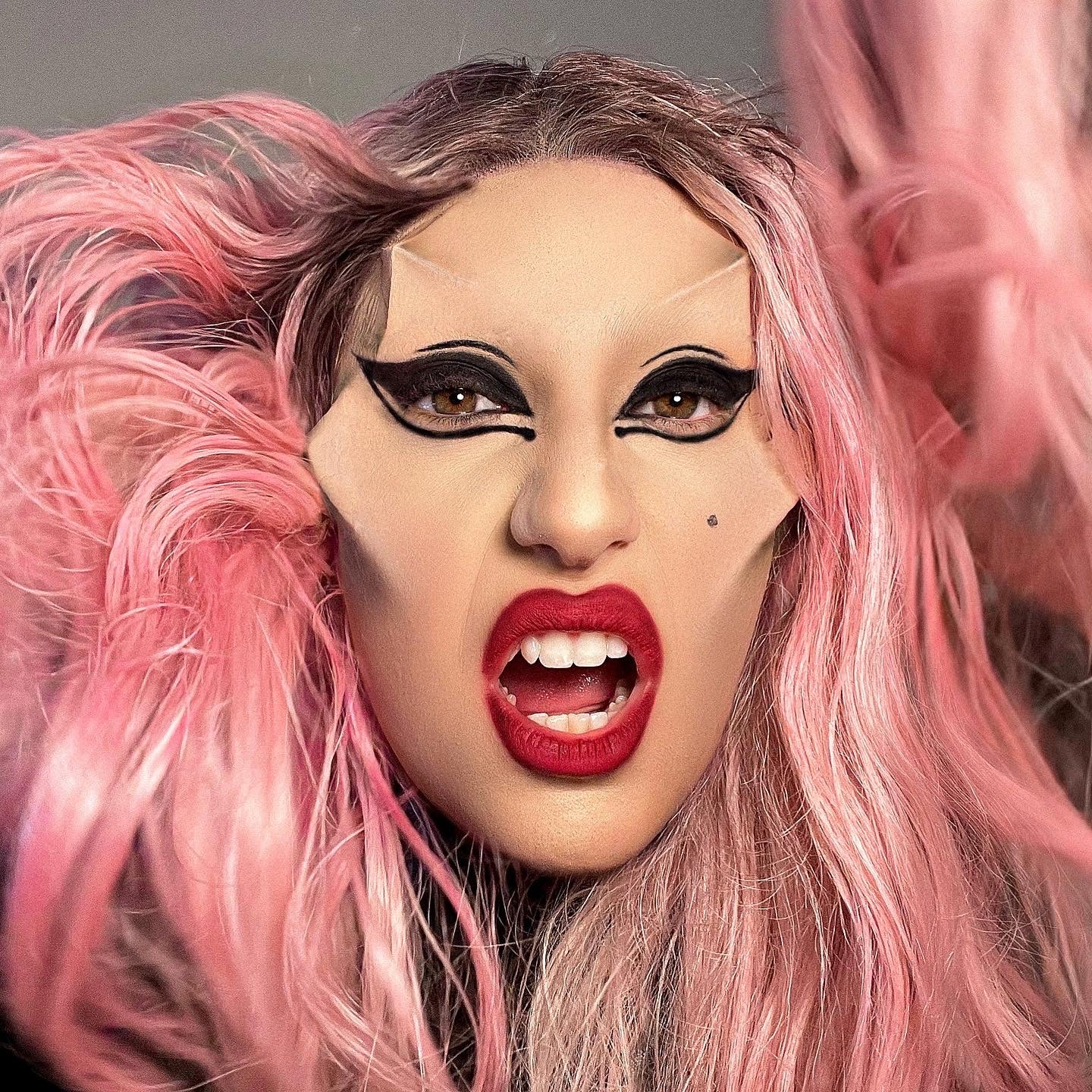 Lady Gaga inspired makeup, with pink hair, red lips and grunge eyes
