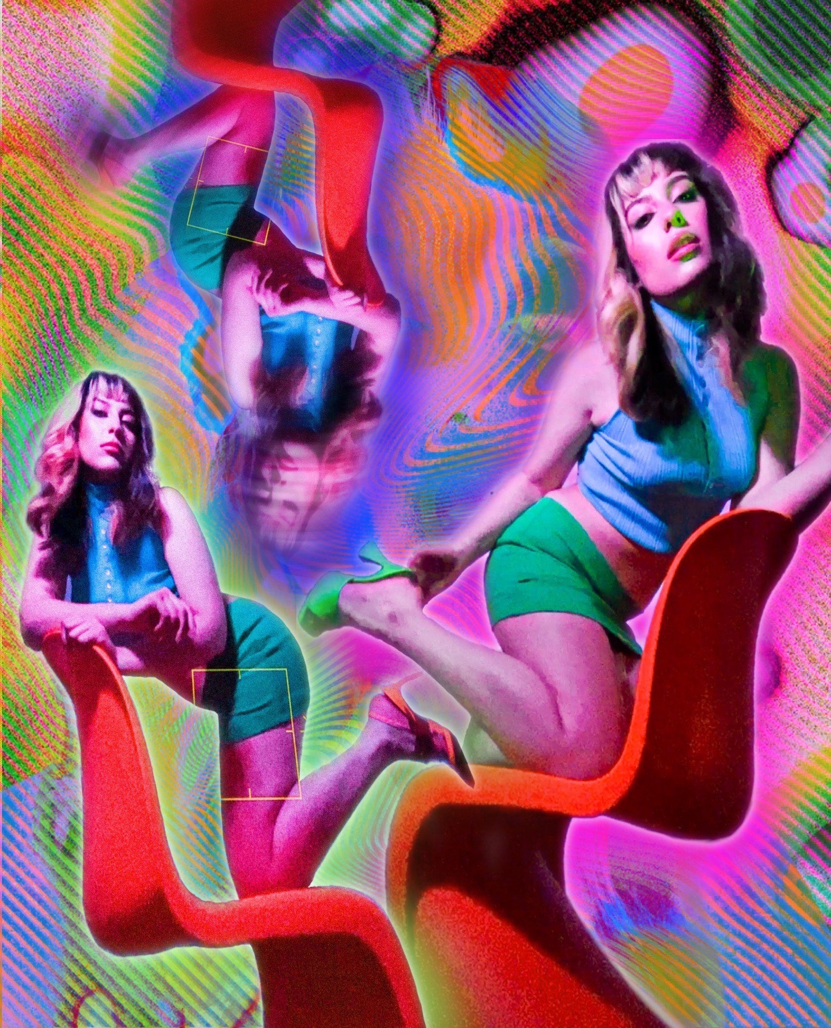 Montage of montreal makeup artist in pop hues on a red wavy chair