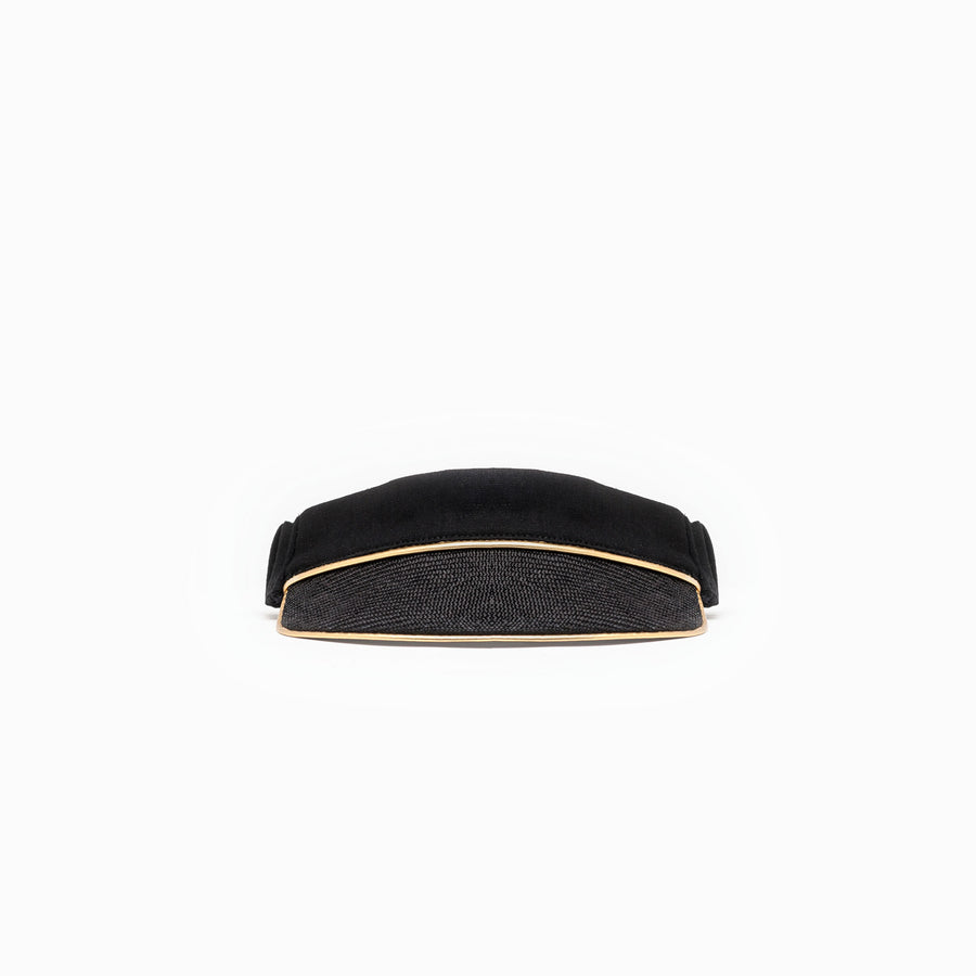 Black summer visor on sale available on Camille Côté's online store.