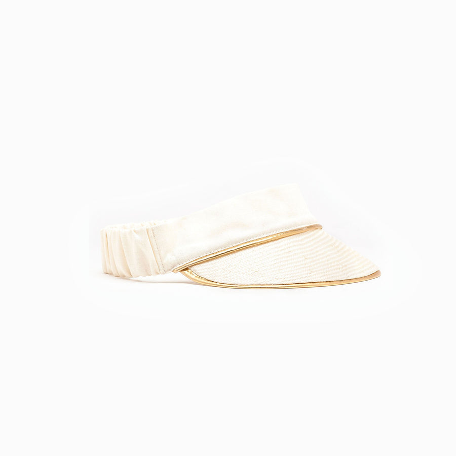 Cream straw summer visor available on Camille Côté's online store.