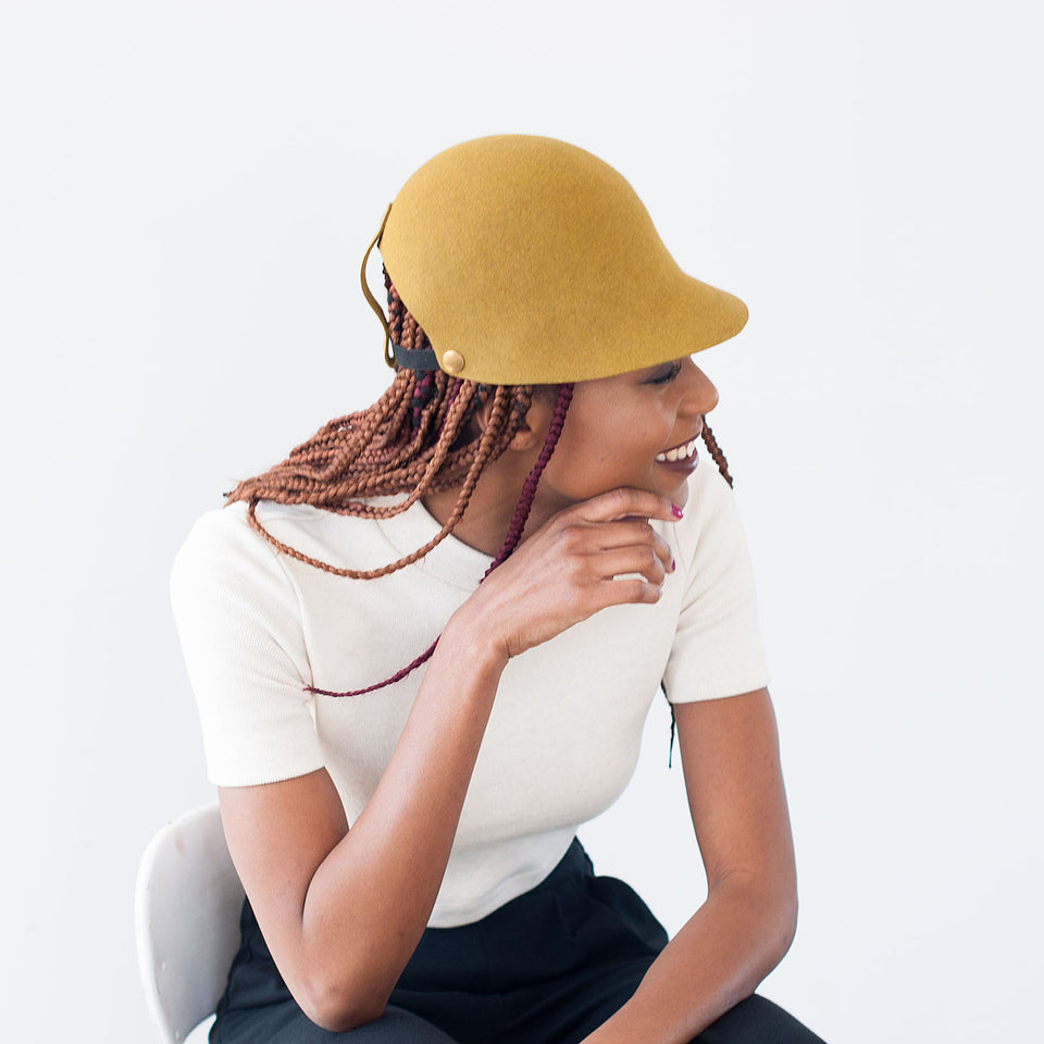 ALI the gold felt hat by Camille Côté that fits braided hair