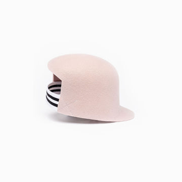 Pink wool felt hat BIGGIE with his black and white elastic at the back.