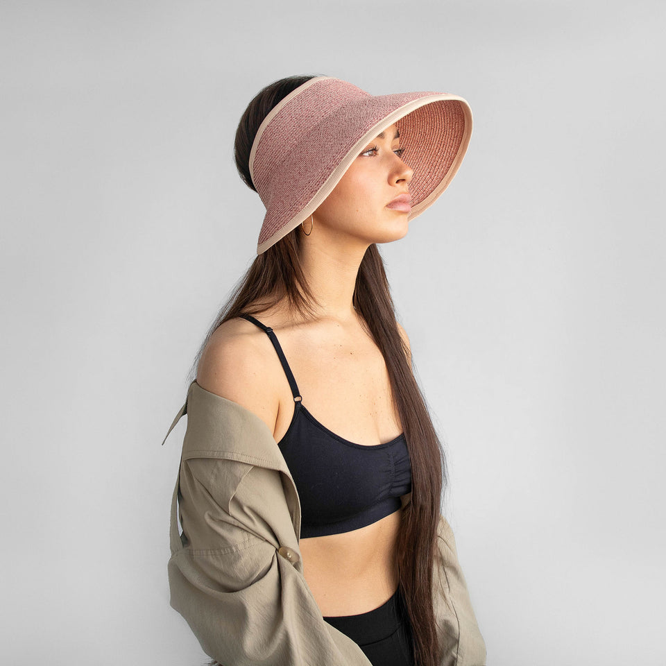 Available in pink, the brigitte visor fits any hairstyle.