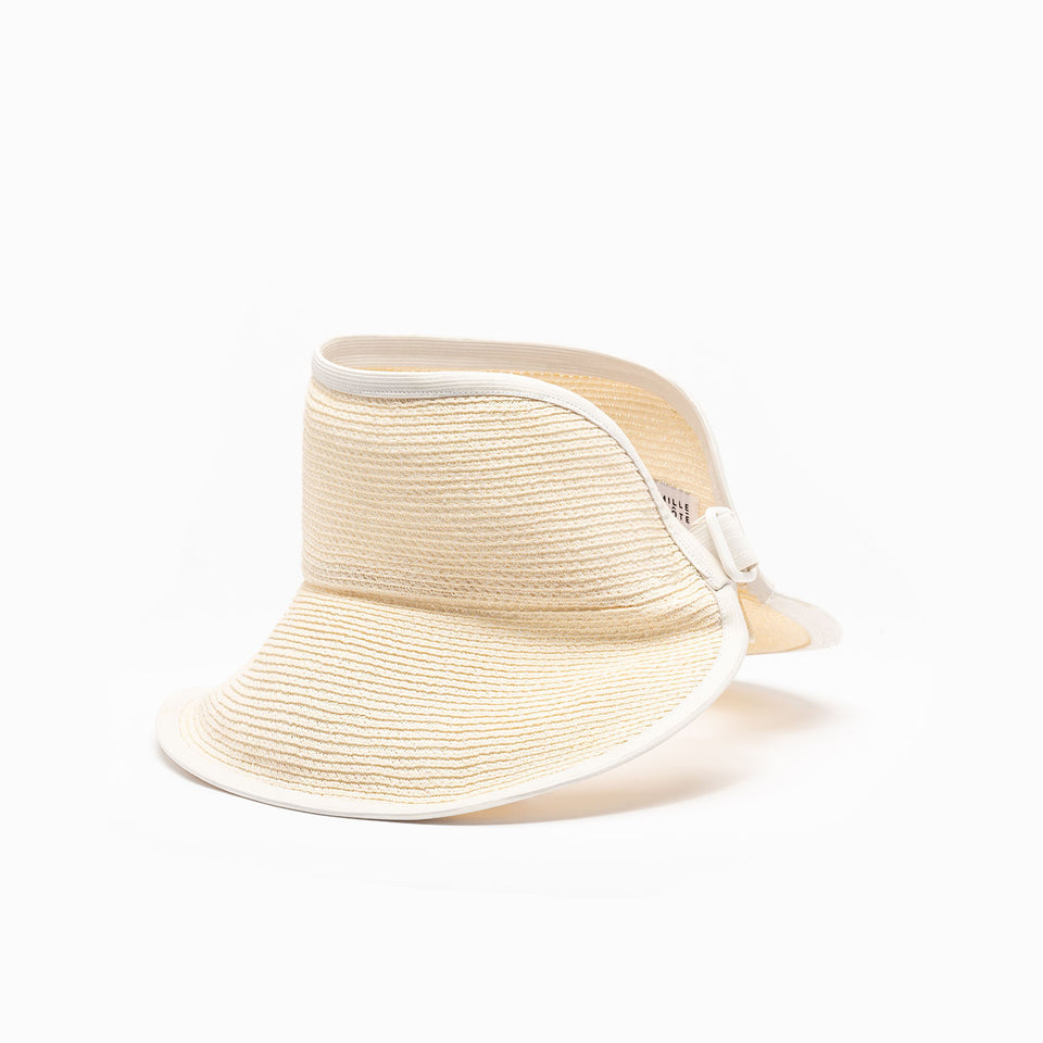 The brigitte hat is available in cream color.