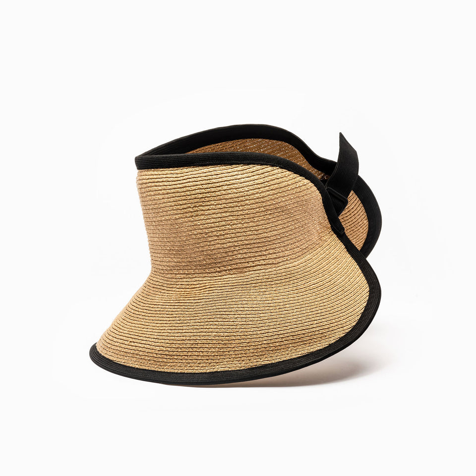 The tan wide brim visor by Camille Côté hat designer.