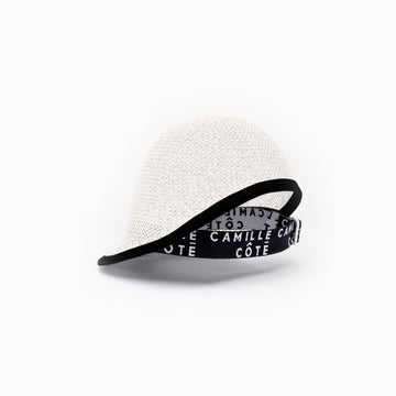 Camille Côté straw cap is available in white.