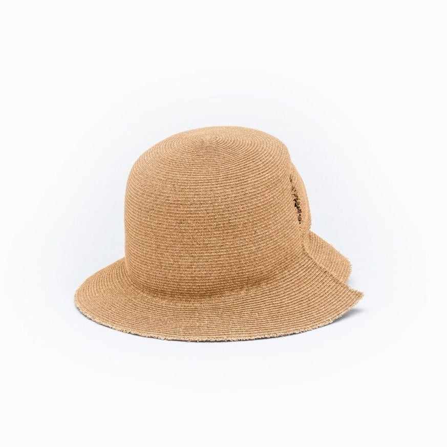 The front view of the DAVIS bucket hat in tan color