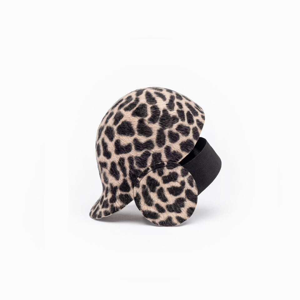 Leopard print riding cap from FW17 Camille Côté hats collection.