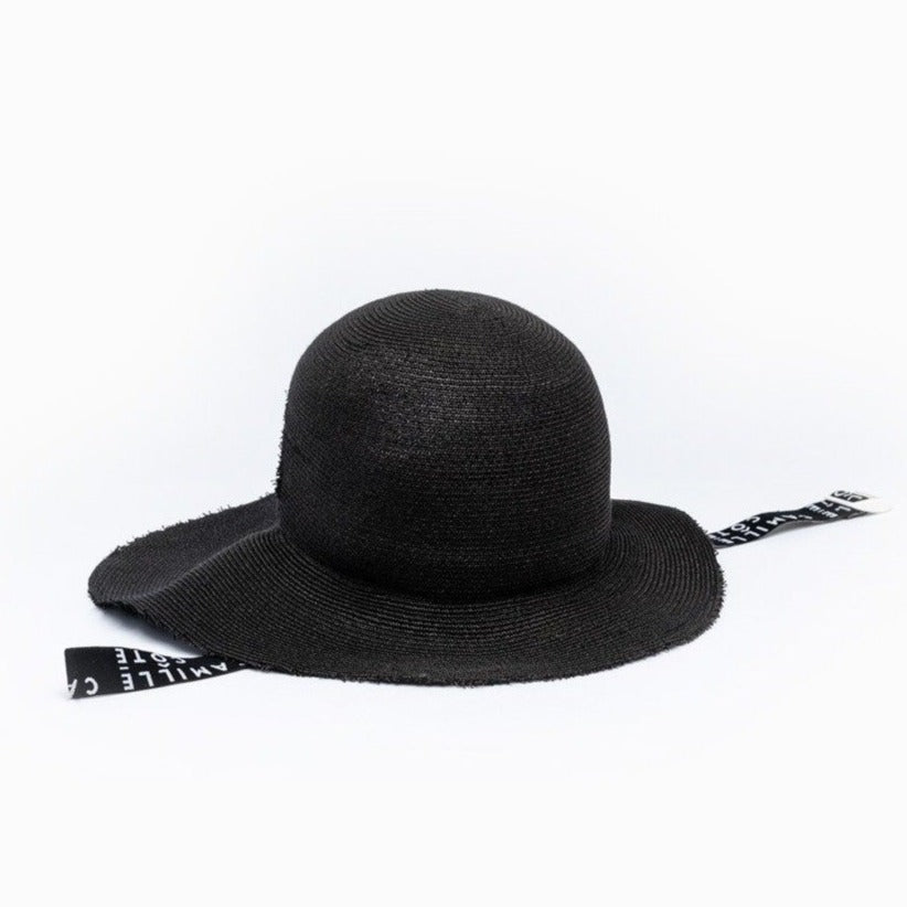 The Camille Côté KITT black straw hat front view