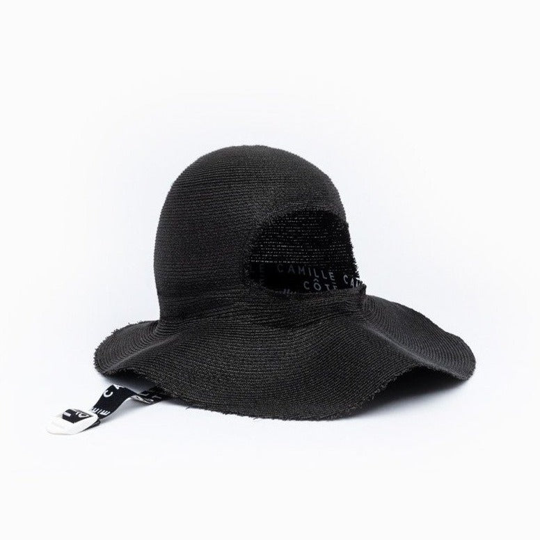 The Camille Côté black KITT straw hat back view