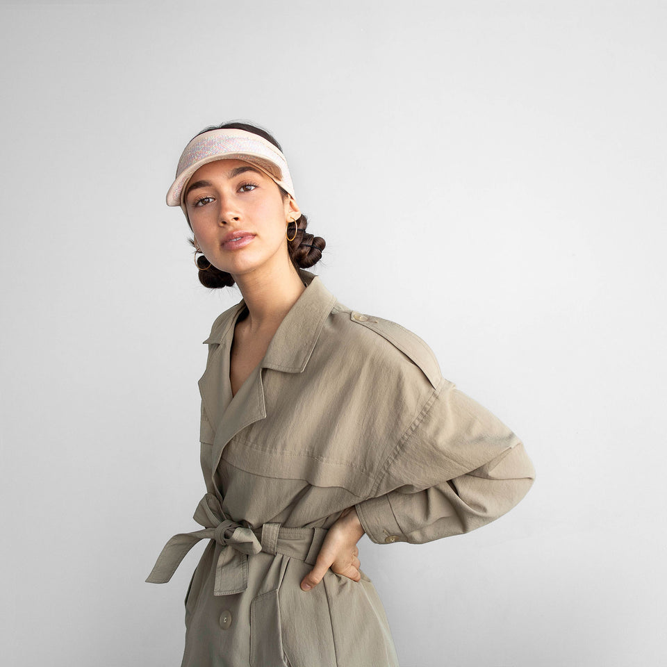 The model wearing the pastel Marion straw visor.