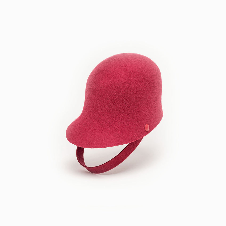 Pink cropped cap™ chief is 100% woolfelt.