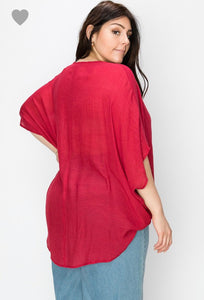 Aurora Red plus wrap shirt