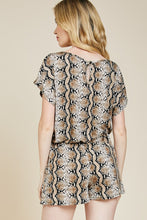 Load image into Gallery viewer, Taupe Snake skin romper