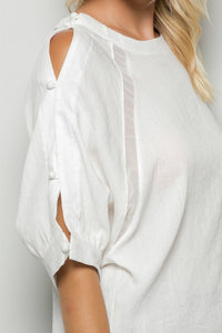 Button sleeve sheer blouse