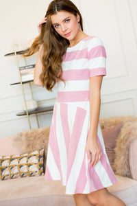 Blush stripe dress