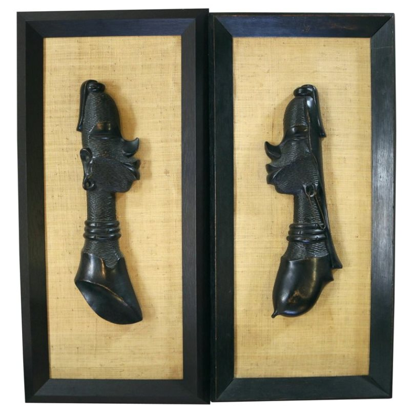 Central African Pair of  Wall Sculptures 'Male and Female'