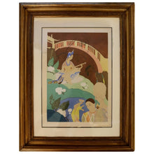 Load image into Gallery viewer, Oriental Lithograph and Watercolor by Umberto Brunelleschi