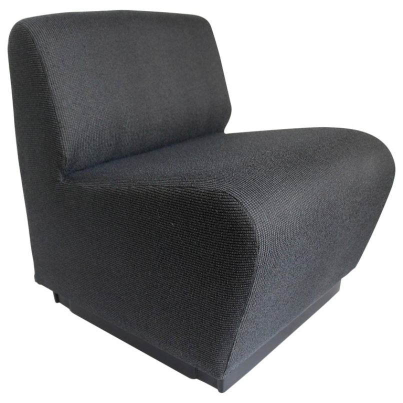 French 1970s Slipper Chair in Charcoal Gray