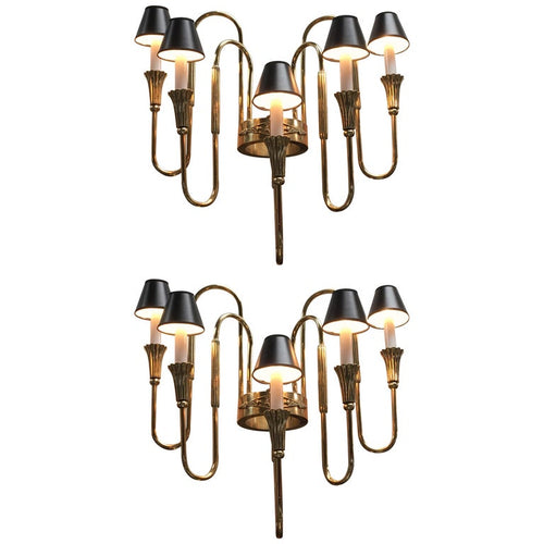 Pair of French Bronze Candelabra Sconces in the