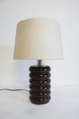 Brown Lacquer Metal Curvilinear Lamp