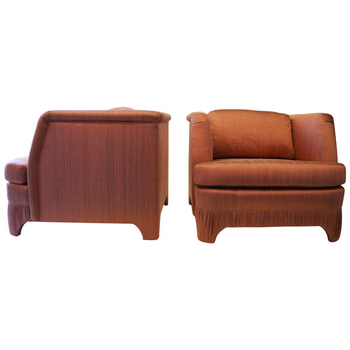 Pleated Base Hollywood Regency Pair of Lounge Chairs
