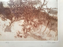 "Load image into Gallery viewer, ""Sand Dunes"" Sepia Landscape Etching by Ruth Leaf"