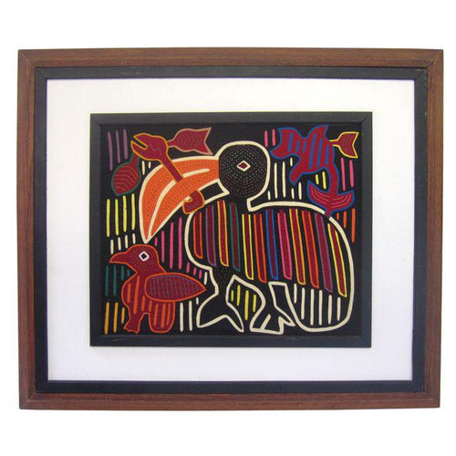 Framed Toucan Kuna Mola from Panama