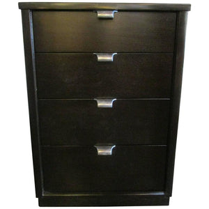 Black Stained Walnut Four-Drawer Nighstand by Drexel